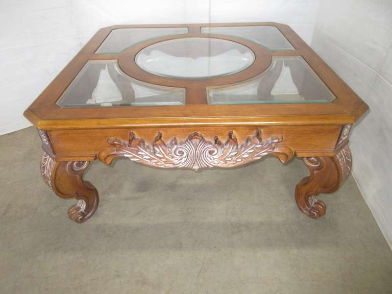 Large Wood Claw Foot Coffee Table, Glass is Removable