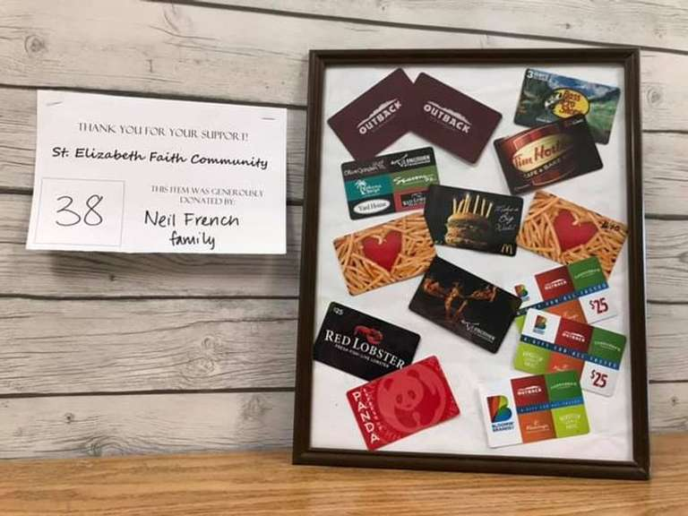 Restaurant Gift Card Frame: Variety of Restaurant Gift Cards for a Total Value of $300 to Cover your Take-Out Needs for Some Time!
