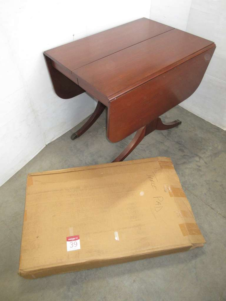 "Antique Wooden Table with 10"" Leaf Attached Under Table, Includes Pads for Table Top"