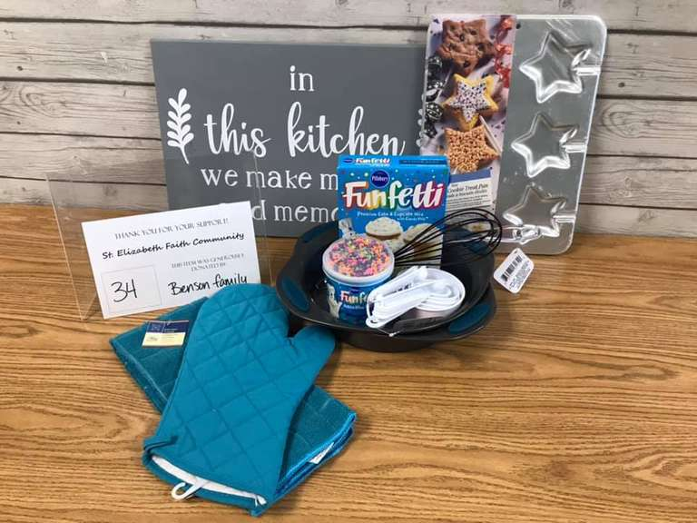 Baking Basket, Includes: Kitchen Sign, Cookie Treat Pan, Hotpads and Towel Set, Measuring Cups, (2) Cake Pans, Rubber Spatula, Whisk, and Cake Mix and Frosting