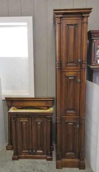 "Matching Set of (3) Solid Wood Bathroom Furniture Pieces, Including: Large Storage Linen Cabinet, 15"" x 21 1/2"" x 83""H; Medicine Cabinet for Above the Toilet, 31"" x 26"" x 8""; Vanity Mirror, 35"" x 33"""