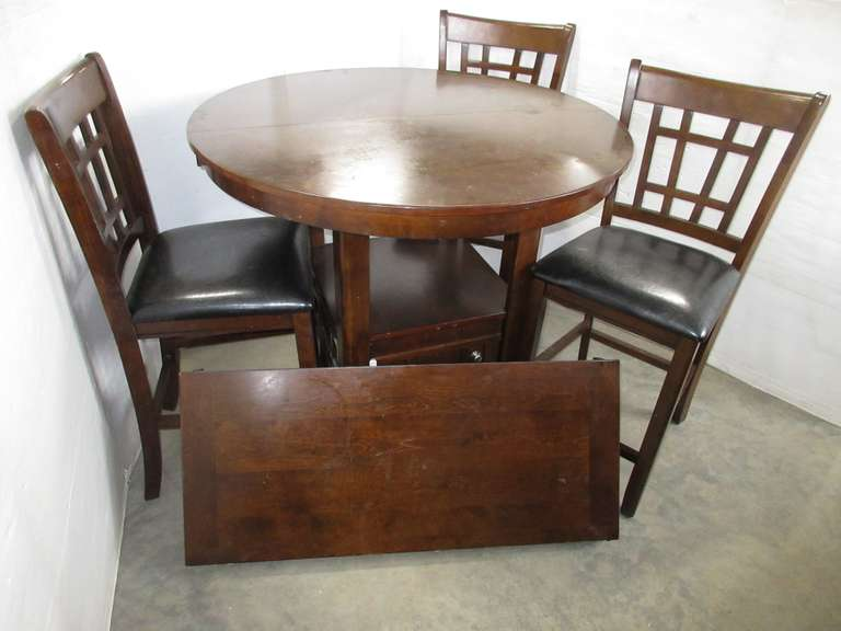 Bar Height Round Oak Table with (3) Chairs and a Leaf
