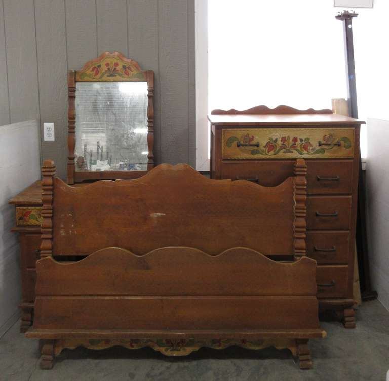 Antique Bedroom Set, Includes: Twin Size Headboard, Footboard, and Frame, Dresser, Chest of Drawers, and Mirror