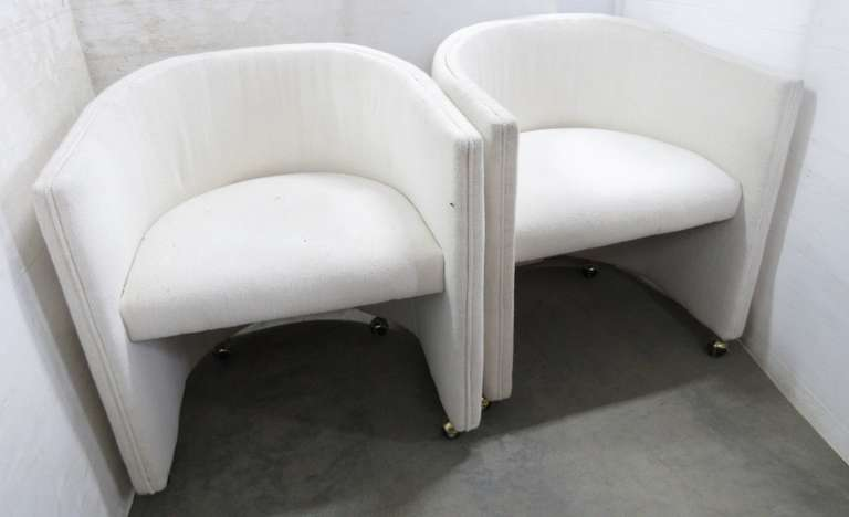 (2) Matching Ivory Barrel Chairs