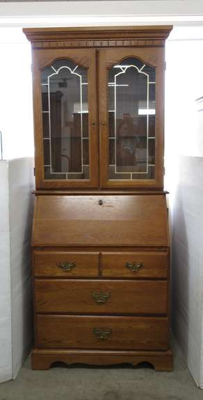 Oak Secretary with Lighted Hutch and Two Glass Shelves, Etched Doors and Three Drawers, Comes Apart for Transport