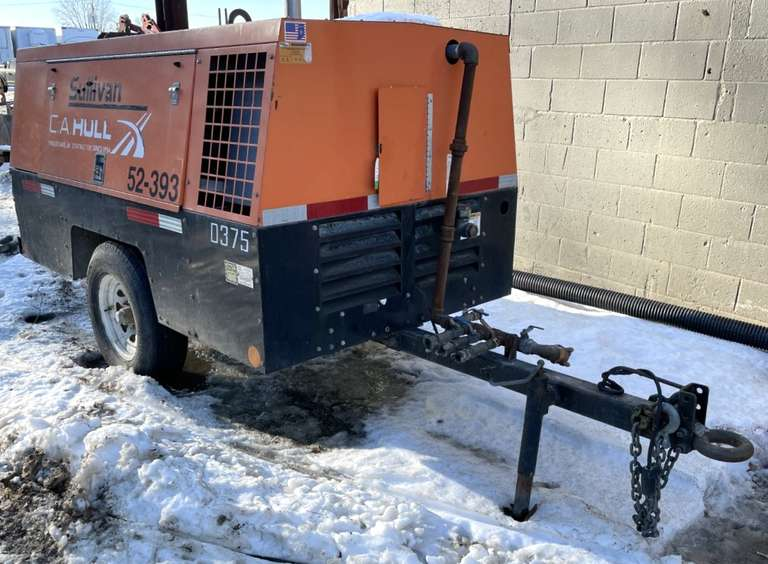 2013 Sullivan-Palatek Model DF-375-PDJD Portable Air Compressor, )2203 Hours), (S/N: 73047), Powered by John Deere Water Cooled Diesel Engine, Mounted on Single-Axle Trailer, Comes with Stop/Turn/Clearance Lights and Safety Chains, Ring-Type Hitch, Tongue Jack, 7-Wire RV Trailer Light Plug.  (52-393)