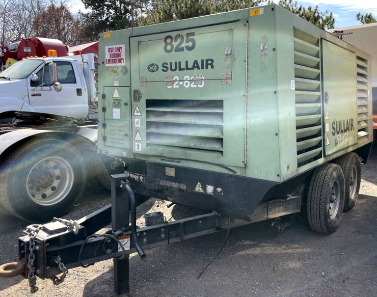 2008 Sullair 825 Portable Air Compressor, (5634 Hours), (S/N: 200807310271),825 cfm, Caterpillar 330 hp C9 Acert, Diesel Engine Mounted on 2-Axles with Bolt-on Towing Tongue.  (52-823)