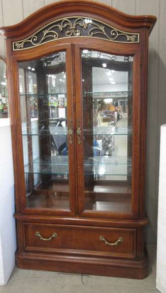 "Solid Wood/Glass Curio China Cabinet, Has Built-In Touch Sensitive Light, 3 1/4"" Thick Glass Shelves with Plate Groove Ornate Metal Design on Front Top, Has Drawer Under Cabinet"