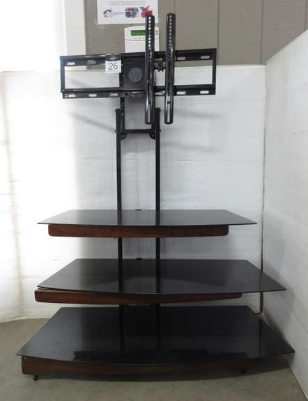 "TV Stand with Three Glass Shelves, Holds up to a 55"" TV"