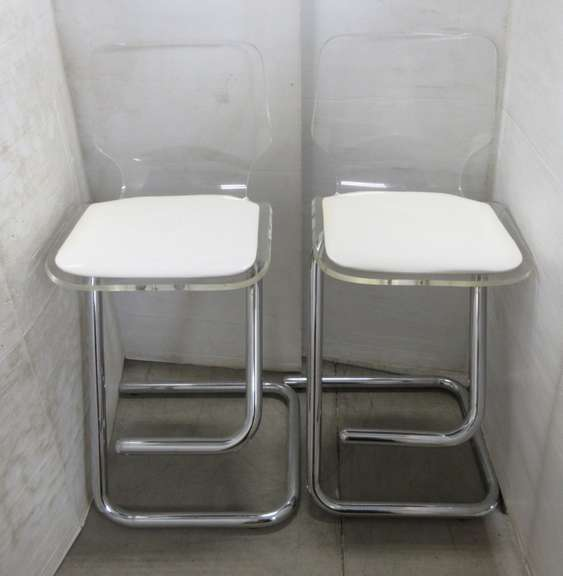 (2) Older Heavy Metal and Plexiglass Bar Stools by Hill Mfg.