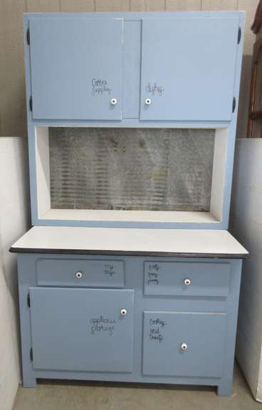"Blue and White Hoosier Cabinet, Countertop Slides Out 12"" More"