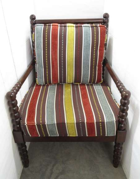 Striped Upholstered Chair