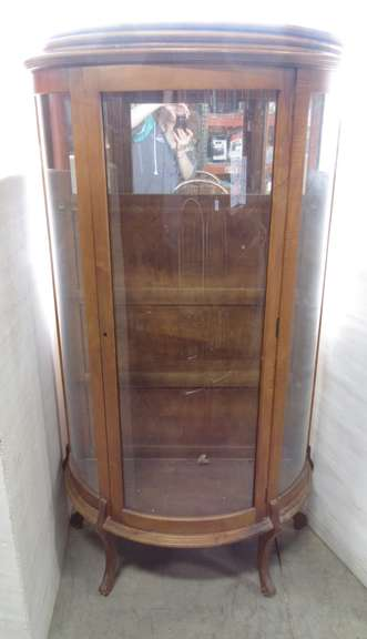 Curved Glass China Cabinet with a Mirror Inside on Top and Three Shelves