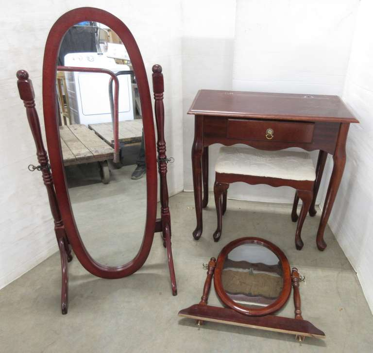 Vanity Set, Includes: Stool, Mirror, and Table
