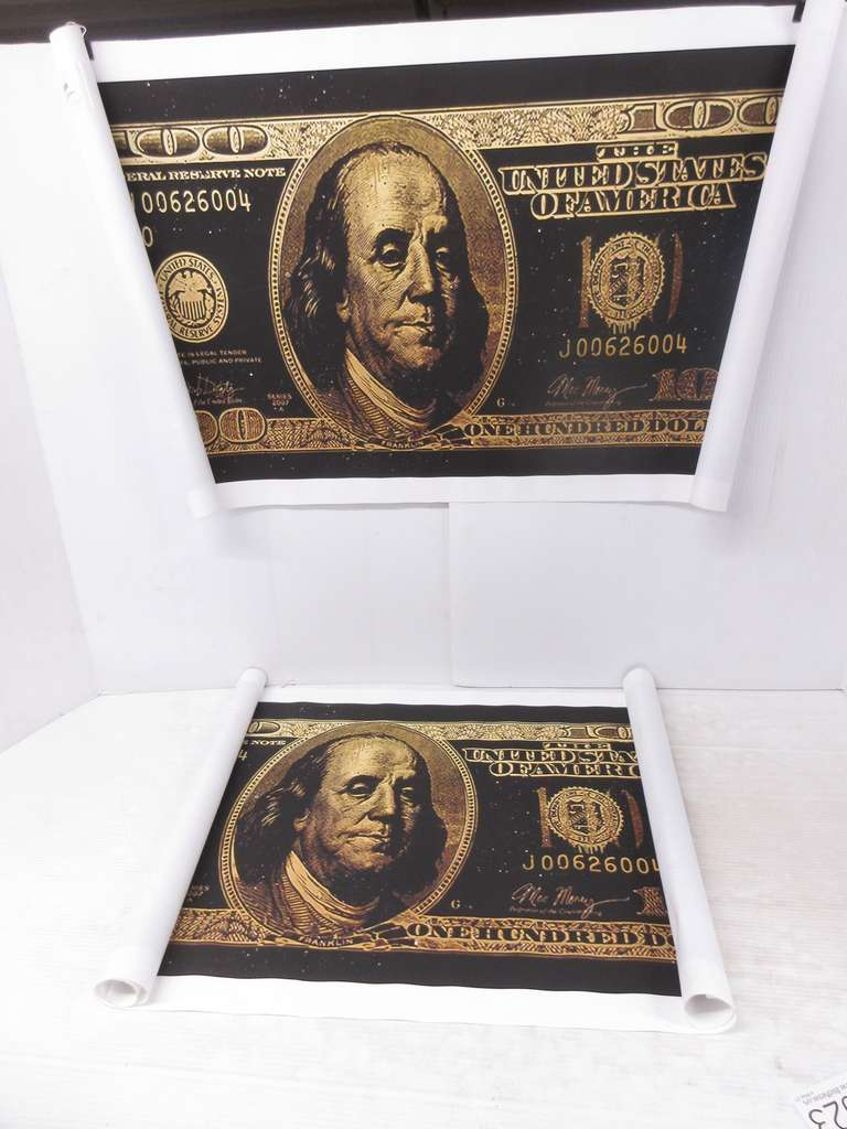(2) Graffiti Art $100 Bill Posters