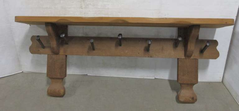 Cedar Hall Shelf with Seven Railroad Spike Coat Hangers