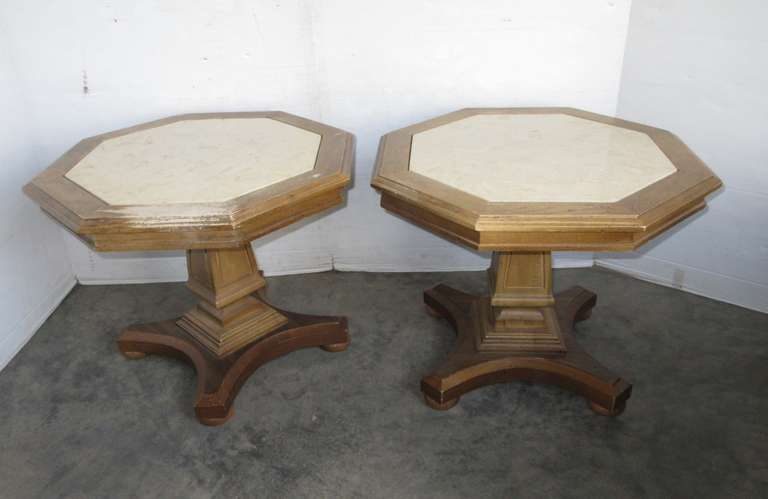 (2) Matching Wood and Marble End Tables, Octagon Shaped
