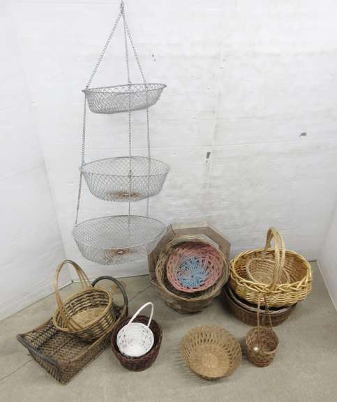 Metal Hanging Kitchen Fruit Basket and Wood, Wicker and Easter Baskets