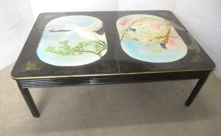Oriental Style Hand Painted Table with Extenda Leaf Underneath