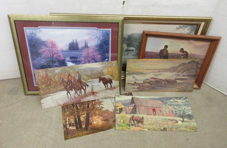 "(3) Framed Prints, Up to 45""W x 23""H; (4) Lithos on Board, Up to 24""W x 12""H"