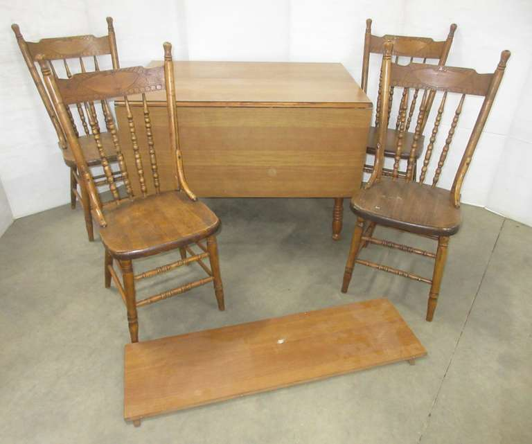 Drop Leaf Table, Leaf, and (4) Chairs