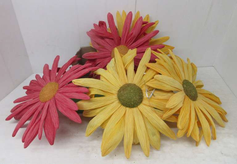 (5) Paper Flowers: 2- Pink and 3- Yellow