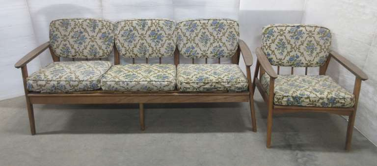 Vintage 1960s Patio Sofa and Chair with Blue Floral Pattern