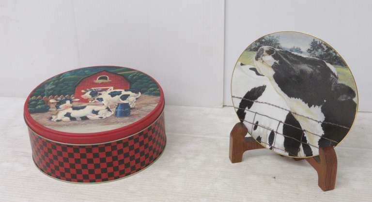Older Red and Black Checker Cookie Tin with Cows and Barn Scene, Diana Art Collectible Plate with Wood Display Stand, All Inside Tin