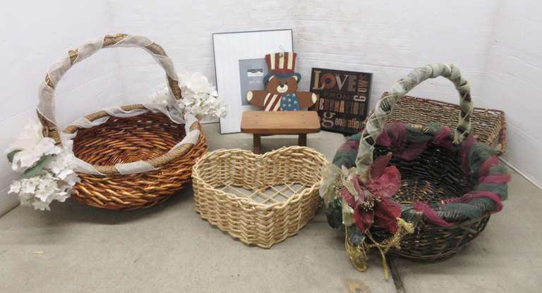 (4) Wicker Baskets, Small Wood Stool, Picture Frame, and American Wood Bear