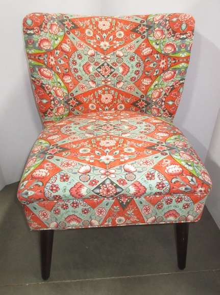 Coral Floral Accent Sitting Chair