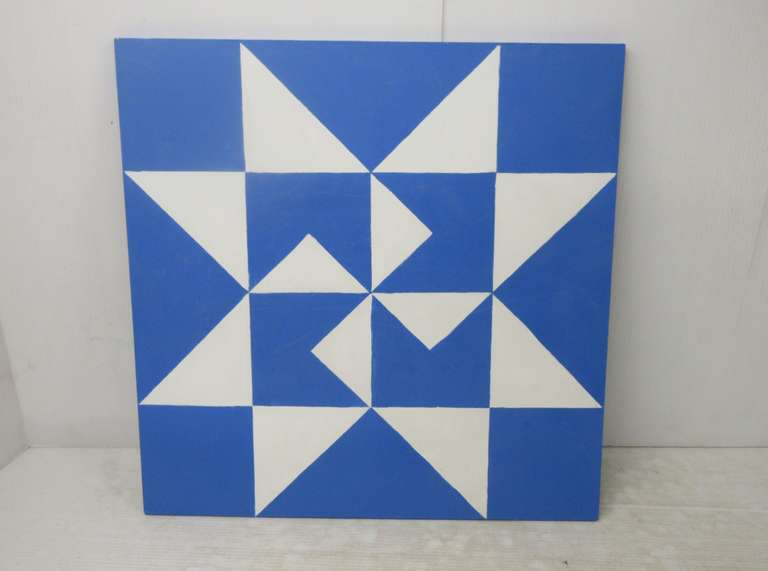 Hand Painted Barn Quilt with Amish Star, Blue and White in Color