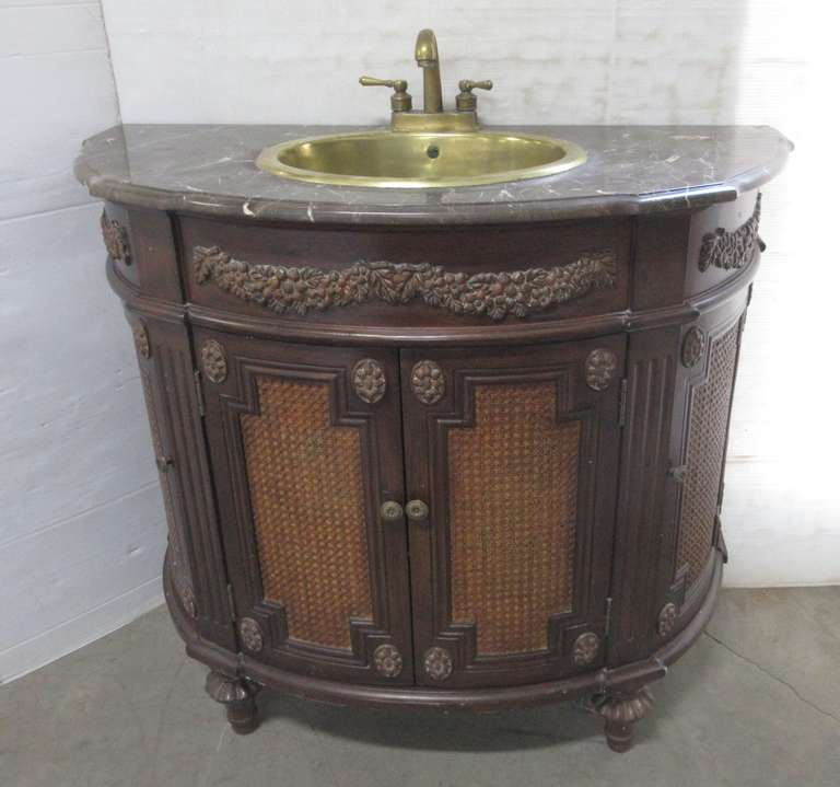 Semi Circle Wooden Ornate Vanity with Brass Sink and Faucet, Has Marble Top and Four Storage Areas in the Cabinet, Ornate Trim