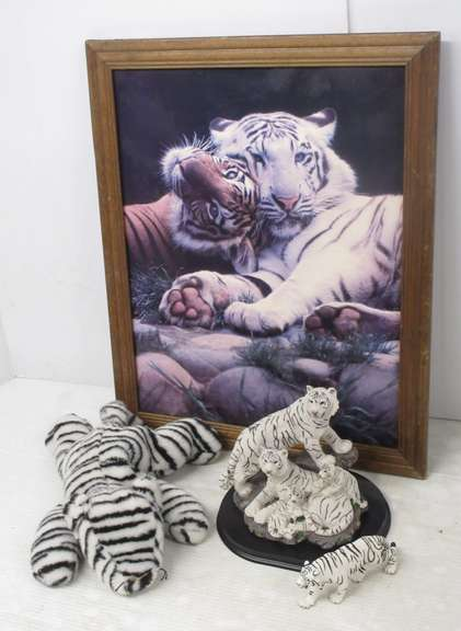 White Tiger Framed Poster, Has Wear; White Tiger Figurine; White Tiger Family Figurine; Stuffed White Tiger
