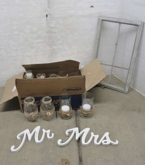 Wedding Decorations, Including: (12) Decorated Mason Jars, (5) Glass Votive Candles, Mr. and Mrs. Signs, and Decorated Window Pane