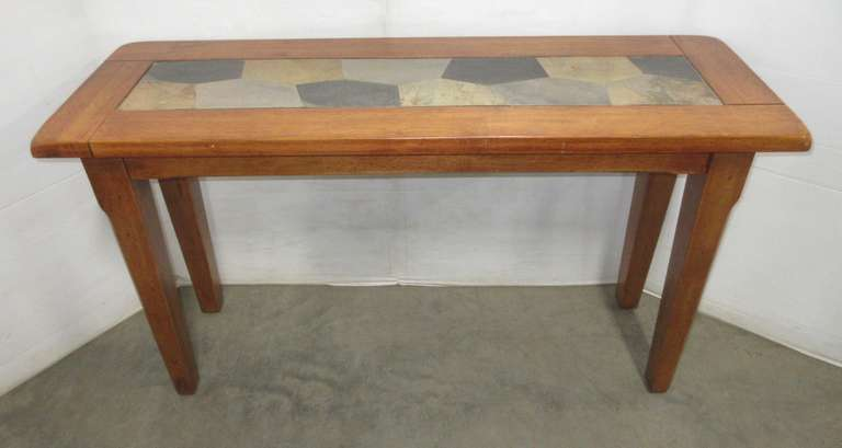 Solid Wood Console Table with Slate Top, Very Heavy