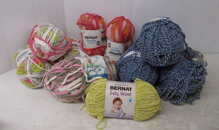 (10) Skeins of Bernat Yarn, All 10 1/2 ozs.