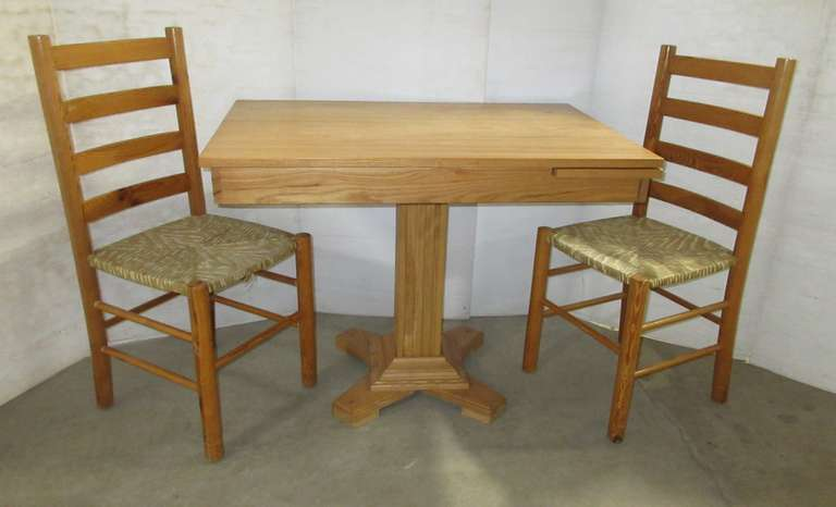 Wood Table and (2) Chairs, Table has Inside Leaf to Extend Larger