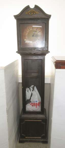 Tall Grandfather Clock, Weights and All Inside, Dark Brown