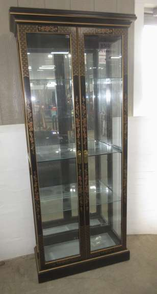 Black Oriental Themed Lighted Curio Cabinet with Three Glass Shelves, Plate Groove in Each, and Beveled Front Glass