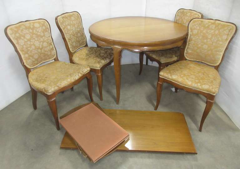 Wooden Dining Set with (4) Chairs and (2) Leaves