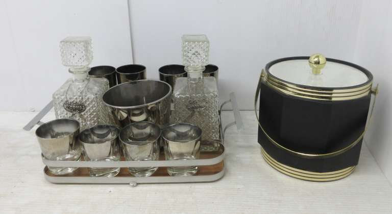 Bar Set with (2) Glass Decanters, and Large Ice Bucket with Lid