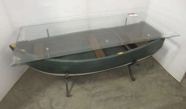 Wood Row Boat Coffee Table with Tempered Glass Sitting on a Heavy Metal Base with Brass Decorations, Glass is Beveled